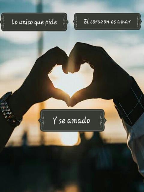 Lo unico que pide el corazon es amar y ser amado.
